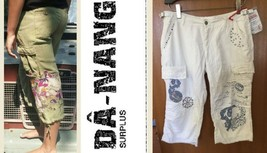 $172 NWT DA NANG surplus silk blend optic white embelished capri PANTS - M - $95.99