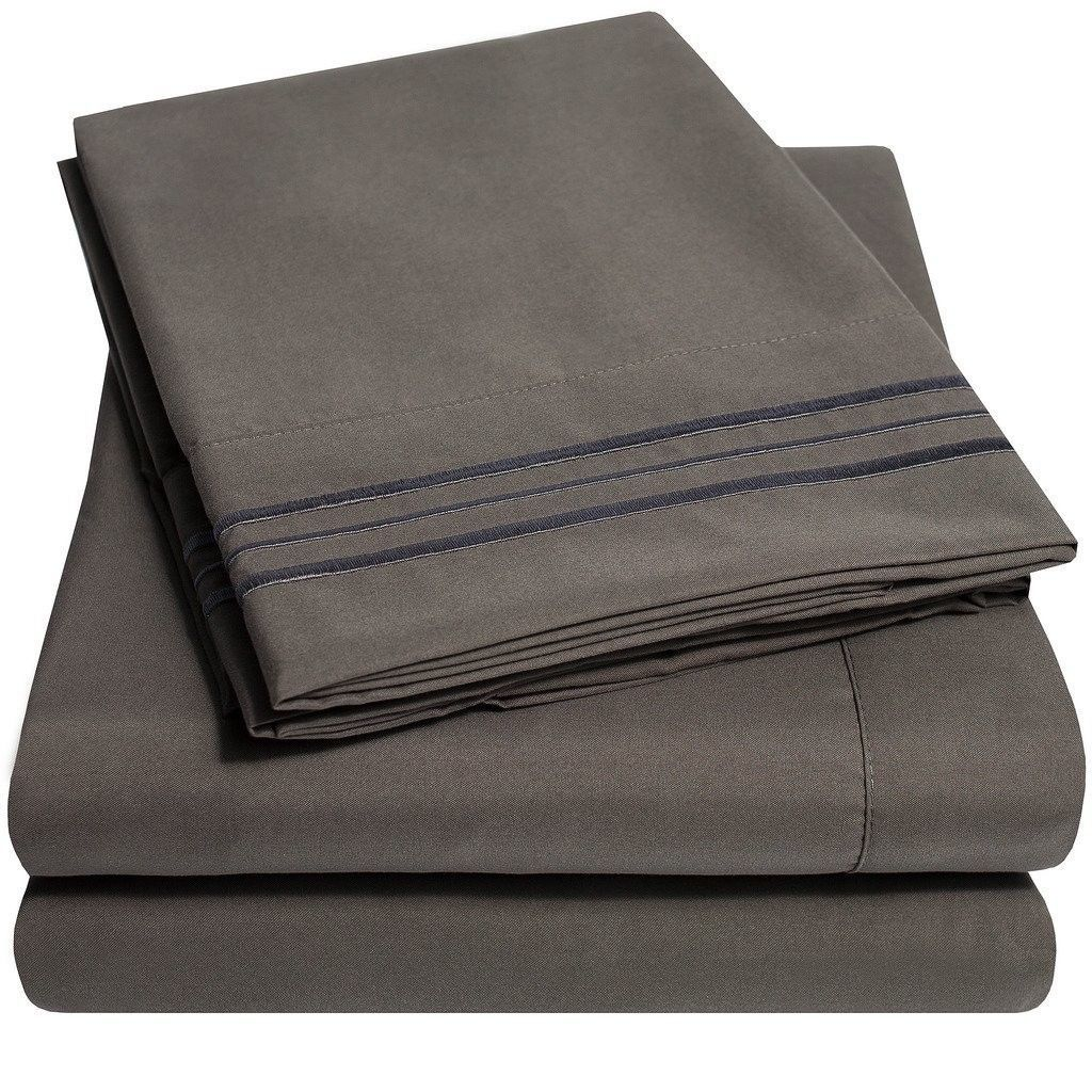 1500 Supreme Collection Extra Soft King Sheets Set - Gray Luxury Bed Sheets Set