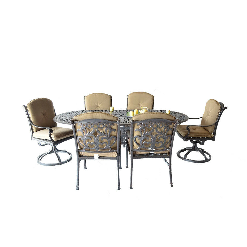 7 piece patio dining set Elisabeth oval table 2 Flamingo swivel rocker 4 chairs.