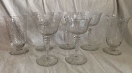 Mid Century.Cut Crystal Etched.Set 7 Knob Stem.Sherbet Champagne Water G... - $39.60