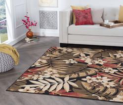 Tropical Palm Floral Coastal Black Area Rug **Free Shipping** - $29.50+