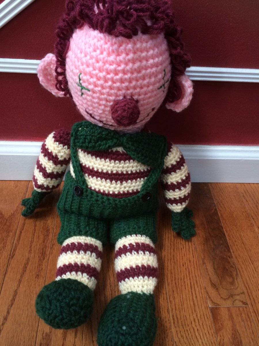 Primary image for Vintage Handmade Doll Pink Face Crochet Stuffed Doll in Green Jumper & Bow 24""