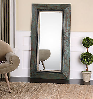 """FARMHOUSE RESTORATION 62"""" ANTIQUED PAINTED FRAME BEVELED WALL FLOOR MIRROR"""