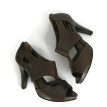 """Sofft Pump Brown Leather Size 8.5 Zip Open Round Toe Shoes 4"""" Heels  - $32.48"""