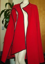 Red Wool Cape Coat Raincheetahs By Naman Size S Wrap Swing Vintage 60s 70s - $222.75