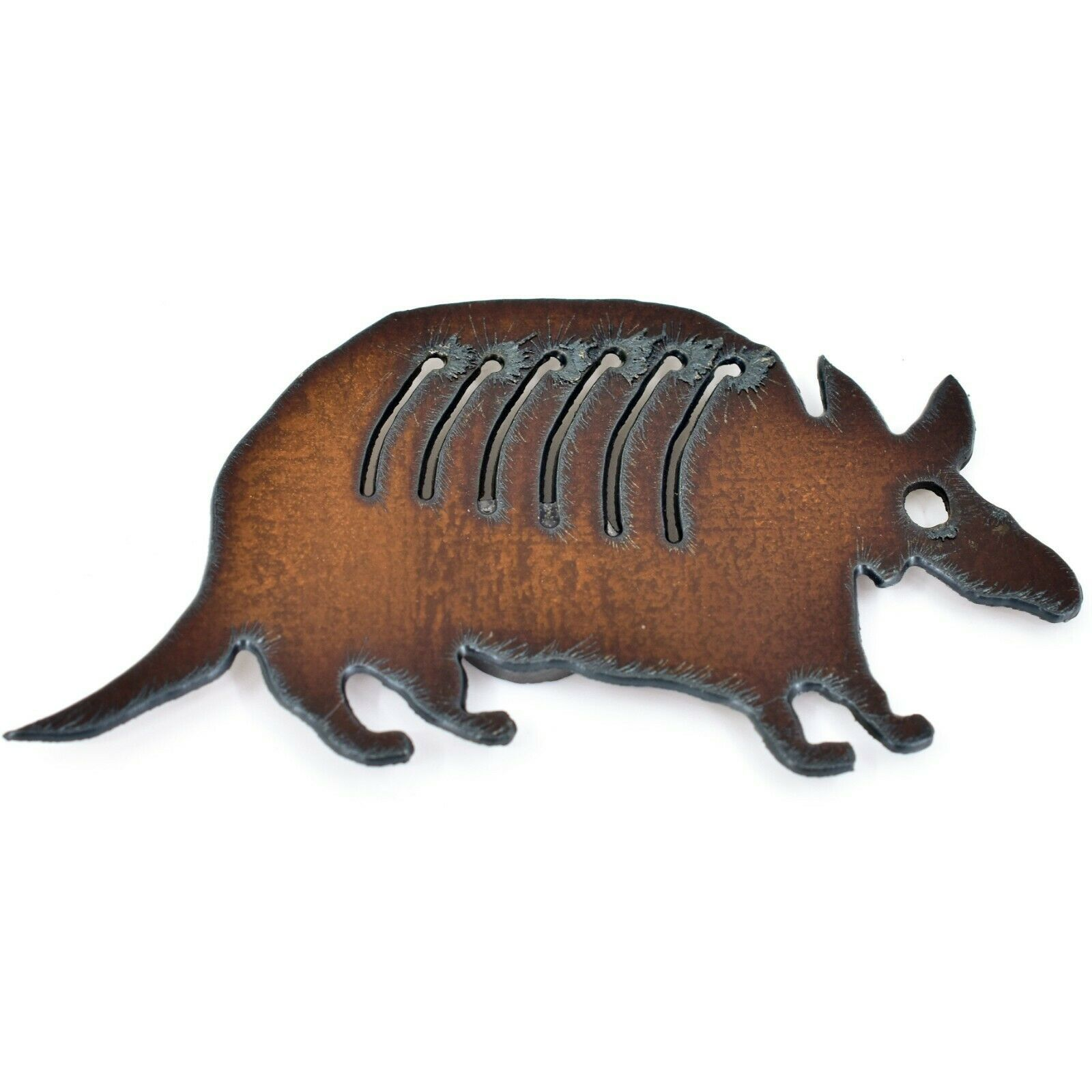 Country Western Rusted Patina Iron Metal Cutout Armadillo Refrigerator Magnet