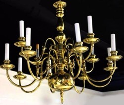 12-Arm Colonial Williamsburg Early American Brass Chandelier Fixture Lam... - $2,250.27