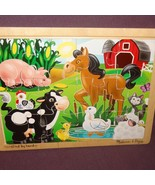Puzzle On the Farm Wooden Tray 2934  Age 3+ Melissa Doug 12 Pieces - $8.67