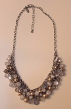 Ann Taylor LOFT Gold, Clear and Frosted Dangle Beads Necklace Statement Silver  - $19.77
