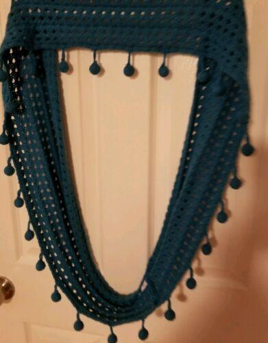 Mudpie Knit Teal Blue Pom Pom Infinity Cowl SCARF Wrap Crochet Boho Retro Groovy image 2