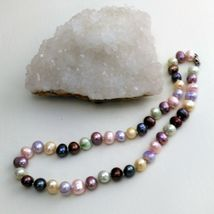 """Palm Beach Pearl Necklace Hand Knotted, Multi-Colored 10-12 mm pearls, New 18"""" image 2"""