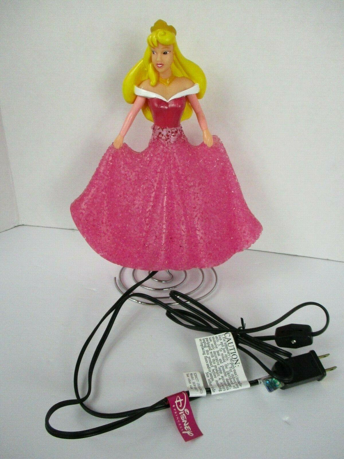 Disney Sleeping Beauty Princess Aurora Lamp Night Light 11 Inch Pink Dress