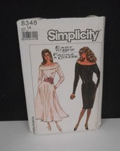 Vintage 1987~Simplicity #8348~Off-the-Shoulder-Long Sleeve Dress w/Pkts~Pattern - $10.95