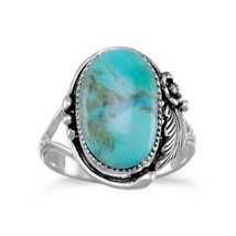 .925 Sterling Silver Oval Reconstituted Turquoise Floral Design Women's ... - $49.68