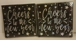 32 count Cheers To The New Year Cocktail Party Beverage Napkins Black & Silver - $3.94