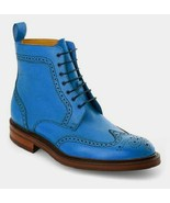 Men's Blue Leather handmade dress lace up wingtip boots - $163.93+