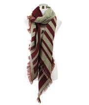 Le Nom Reversible Two Tone Pointed Striped Scarf (Burgundy/Beige) - $14.84