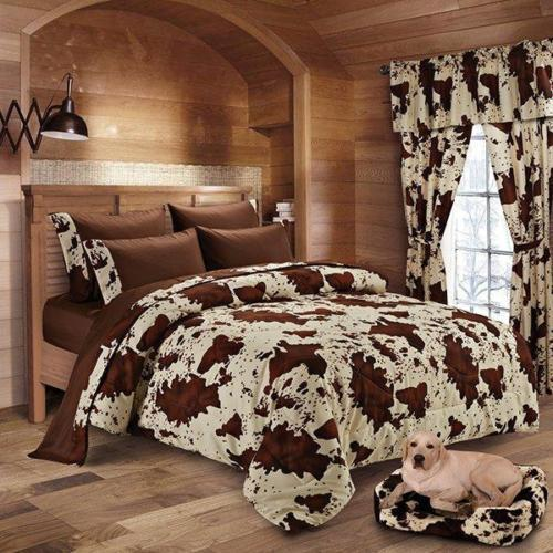 4 PC TWIN SIZE CHOCOLATE RODEO COMFORTER AND SHEET SET BEDDING PILLOW CASES