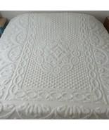 "Vintage Chenille Medallion Popcorn 100% Cotton Bedspread Ivory KING 97"" ... - $237.58"