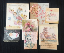 Set of 8 Vintage 40s illustrated Birth/Baby card art (Set D)
