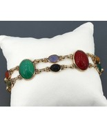 Vintage Curtis Creations Gold-Filled Carved Gemstone Scarab Double Link ... - $39.99
