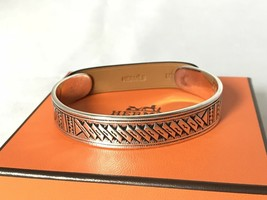 Hermes Auth Touareg 18 silver bangle leather T4 - $3,142.57