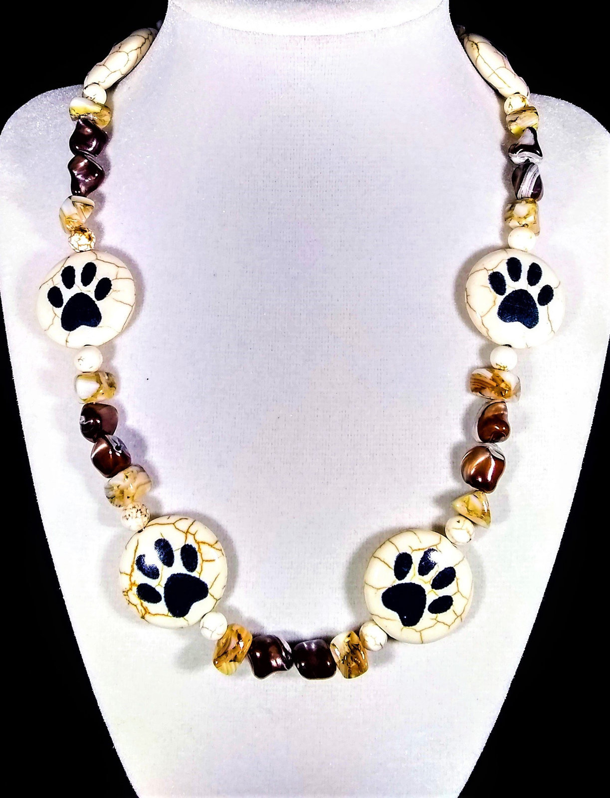 "Primary image for 19"" Paw print howlite, shell, & stone bead necklace"