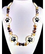 "19"" Paw print howlite, shell, & stone bead necklace - $100.00"