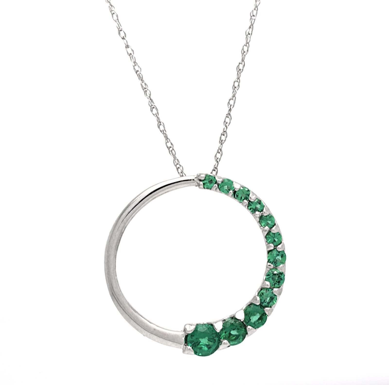 10K Created Emerald White Gold Circle Journey Pendant with 10 K Cable Chain