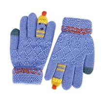 Student Winter Gloves/Cute Cartoon Gloves for Kids/Blue, Knitted Woolen Gloves