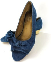 Aerosoles Ship Deck Size 8 Blue Denim Wedge Bow Peep Tow Slip On - $29.69