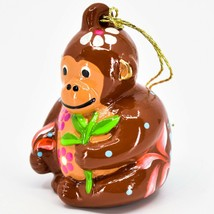 Handcrafted Painted Ceramic Brown Monkey Confetti Ornament Made in Peru image 2