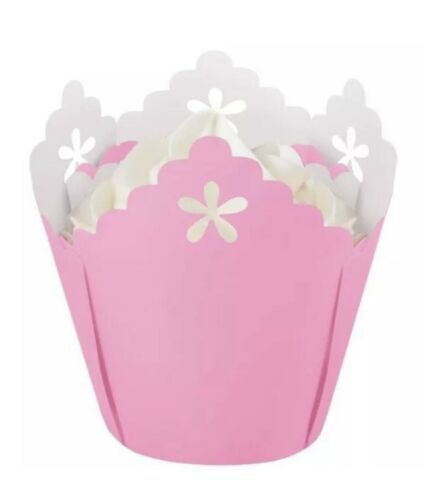 Primary image for 15 Count Pastel Pink Pleated Eyelet Baking Cups from Wilton New Free Shipping