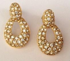Swarovski Crystal Swan Stamped Post Gold Plated Door Knocker Pierced Ear... - $69.29