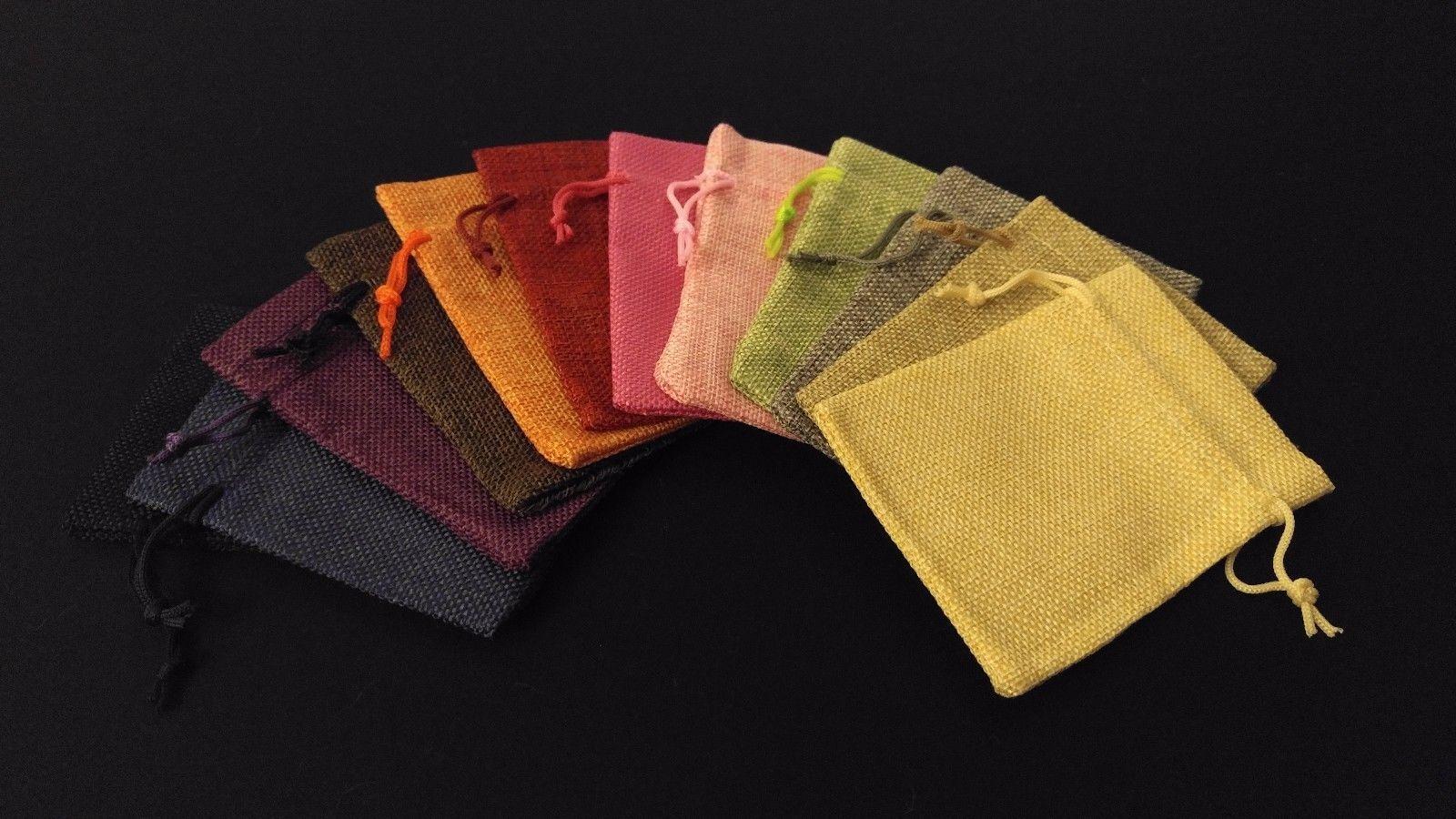 10pc CREAM Burlap Cloth Drawstring Gift Bags Party Wedding Favors 9X12CM