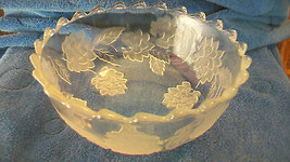 VINTAGE CRYSTAL GLASS BOWL, FLOWERS AND LEAVES WITH SCALLOPED EDGES - $297.00