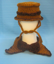 Pet Sets Dog Cat Top Hat & Bow Tie Collar Brown Copper Handmade Crochet ... - $15.00
