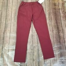 New York Laundry Medics Pants Womens S Small Burgundy Mid Rise Scrubs Pockets - $30.68