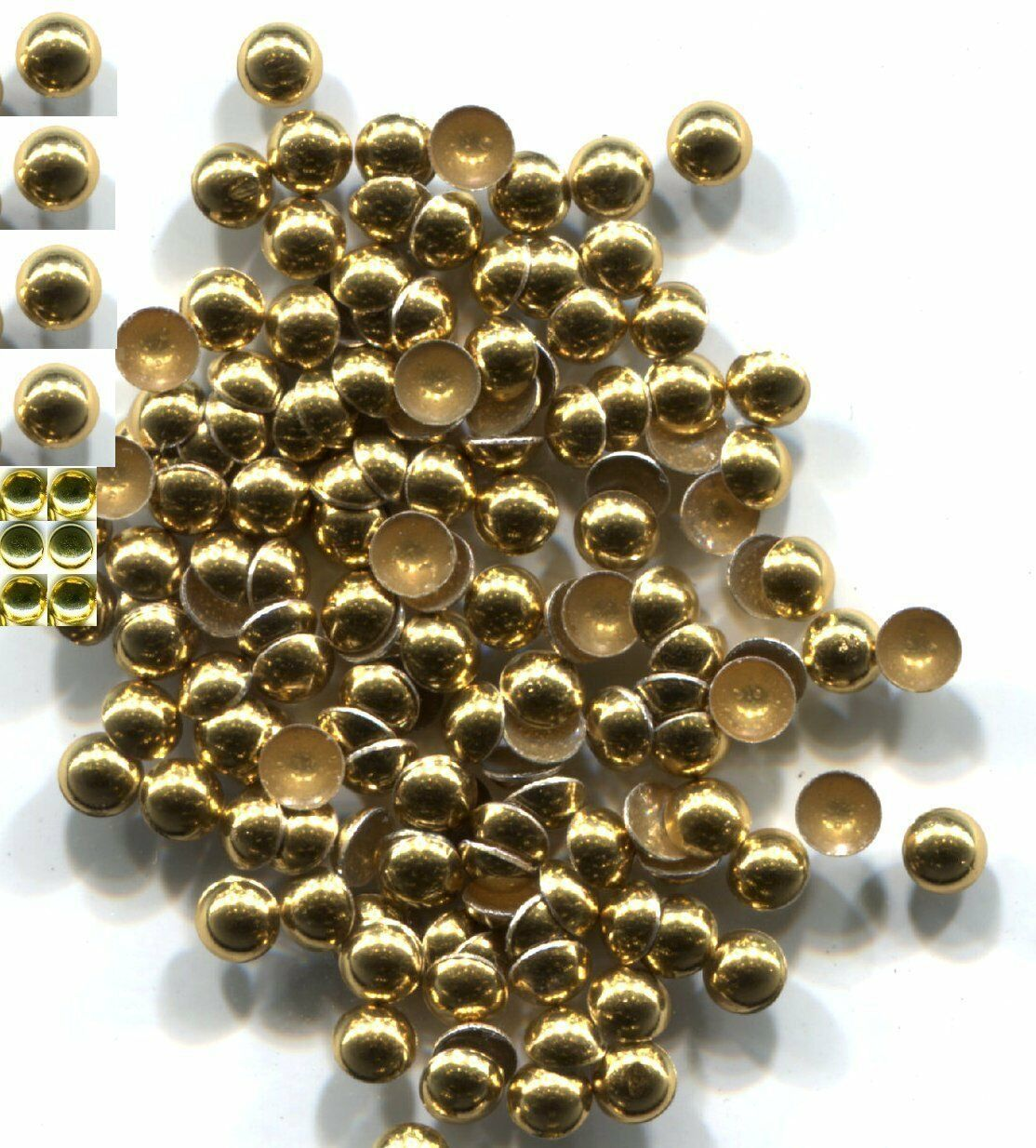 Primary image for DOME Smooth Nailheads 3mm GOLD color 1 gross  Hot Fix