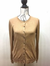 Ann Taylor Loft Women Button Down Cardigan Sweater Tan Beige Medium Cotton - $21.90