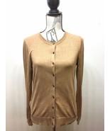 Ann Taylor Loft Women Button Down Cardigan Sweater Tan Beige Medium Cotton - $21.90
