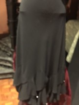 Vintage Flapper Style Black Silky Crepe Beaded Flared Long Skirt - $64.35