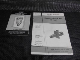 Old vtg 1950's Sears roebuck STANDARD SHALLOW WELL JET PUMPS OWNERS MANUAL - $9.89