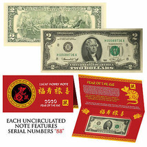 2020 Chinese Lunar New YEAR of RAT 1976 Bicentennial $2 Bill w/Foldover ... - $27.07