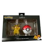 Hallmark Pokemon Pikachu and Pokeball Christmas Tree Ornaments Set of 2 ... - $24.74