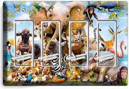 African Jungle Animals 4 Gang Gfi Lightswitch Wall Plate Baby Nursery Room Decor - $19.79