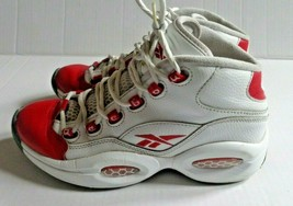 REEBOK Question Mids Basketball Shoe Youth Size 5.5 White Red Q School P... - $18.99