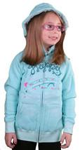 Iron Fist Girls Kids Happy Camper Aqua Hoodie Sweater w Fur Hood IFK0088 NWT image 2