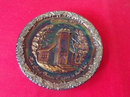 """FENTON 1970 """"The Little Brown Church in the Vale"""" Christmas Glass Plate #1 - $24.75"""