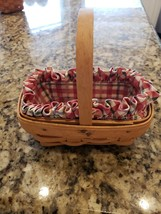 LONGABERGER LITTLE BASKET WITH WOOD HANDLE + RUFFLED LINER PROTECTOR EXC... - $23.99